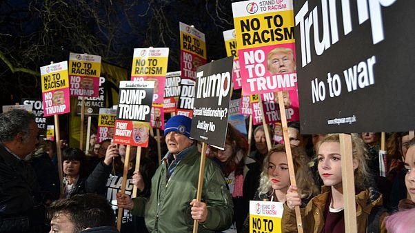 تظاهرات ضد ترامپ در اروپا همزمان با ورود او به کاخ سفید