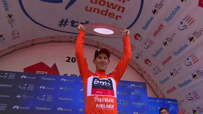 Porte celebrates Tour Down Under title as Ewan wins final stage