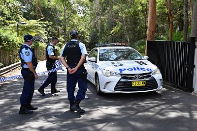 New South Wales police stand guard at the scene of a stabbing at the Church of Scientology headquarters in Chatswood, Australia, on Jan. 3, 2019.