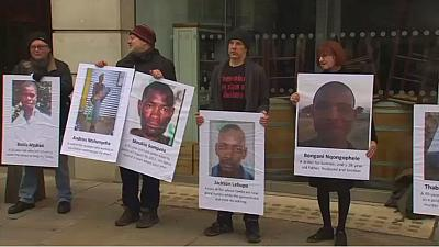 Protesters demand apology for Marikana miner massacre outside LonMin AGM in London