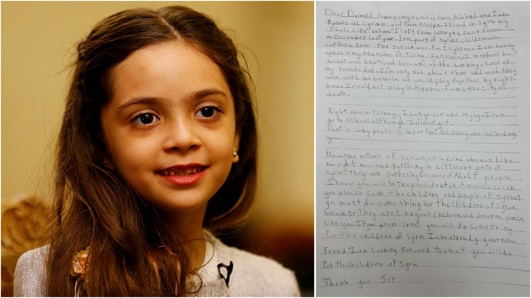 """Girl, 7, tells Trump: """"Help Syria and I'll be your friend"""""""