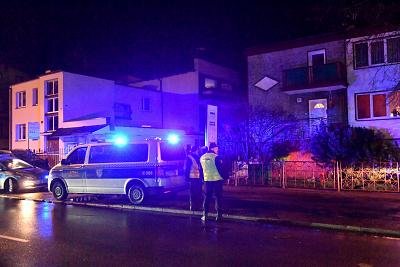 "Police secure the scene of a fire in an ""escape room"" that killed five teenage girls in Koszalin, Poland, on Jan. 4, 2019."