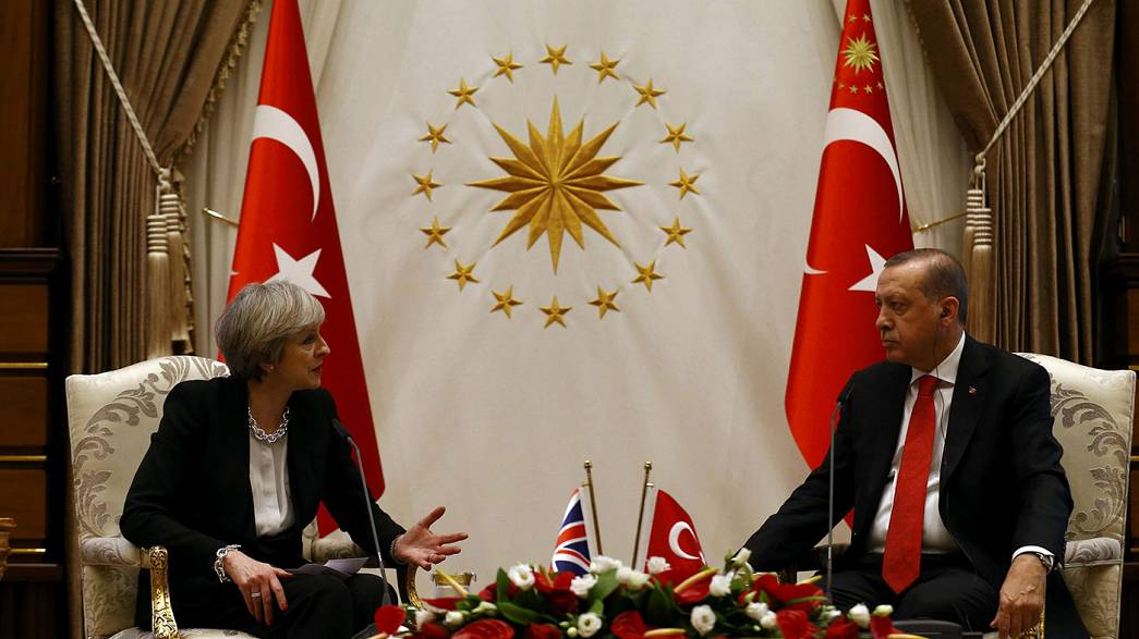 May talks trade in Turkey for a fresh Brexit boost