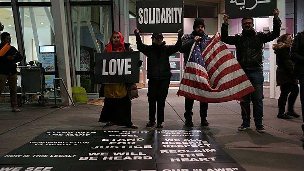 Protestos em Nova Iorque contra bloqueio a refugiados e muçulmanos