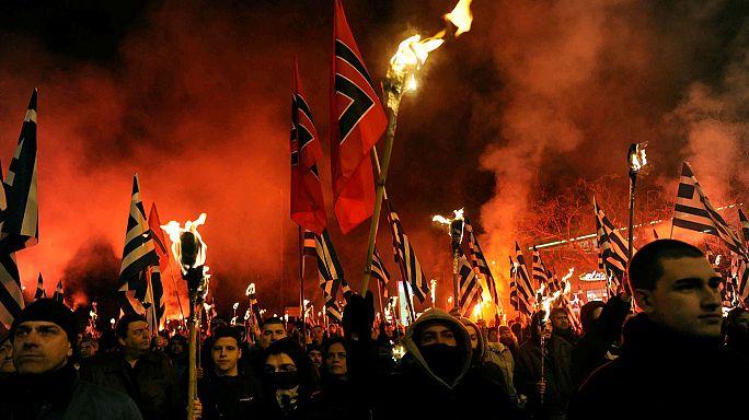 مظاهرة لحزب الفجر الذهبي اليميني المتطرف اليوناني ضد اللاجئين