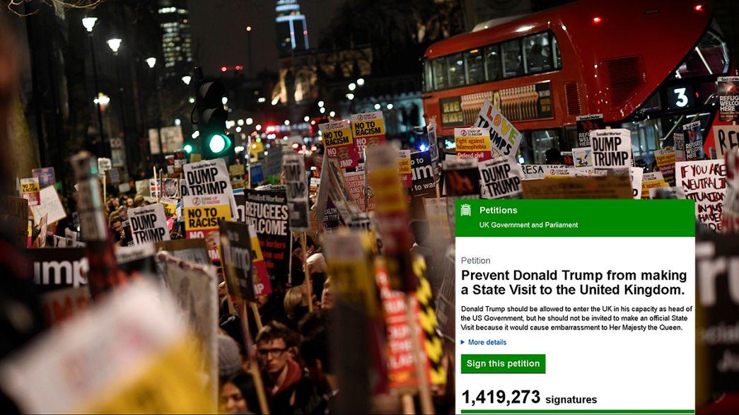 """Mais de um milhão de britânicos contra a """"lua de mel"""" de Trump e Theresa May"""