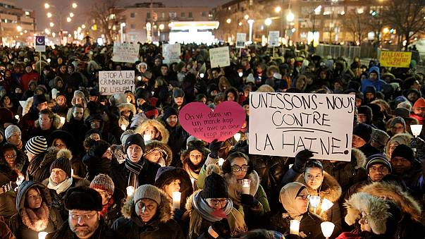 مظاهرة تضامن وترحم أمام المركز الثقافي الإسلامي في كيبك