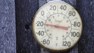 Image: A backyard thermometer shows the temperature during polar vortex in