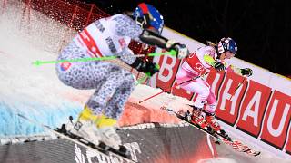 Shiffrin, Strasser take Stockholm World Cup parallel slaloms
