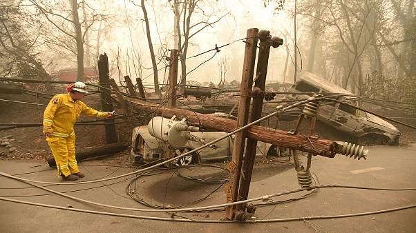 Image: CalFire firefighter Scott Wit surveys burnt out vehicles near a fall