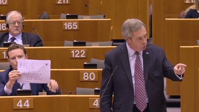 """MEP accuses Farage of """"lying"""" in EU parliament protest"""
