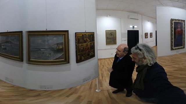Mafia-Gemälde im Palazzo della Cultura von Reggio Calabria