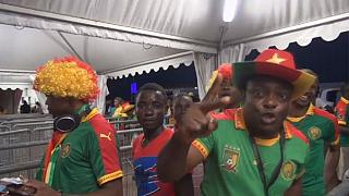 Coaches and players react after Cameroon's victory