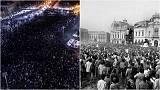 How does Romania's revolution compare with this week's protests?