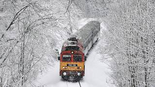 Image: A train crosses the Cuha Valley during heavy snowfall near Vinnye, H