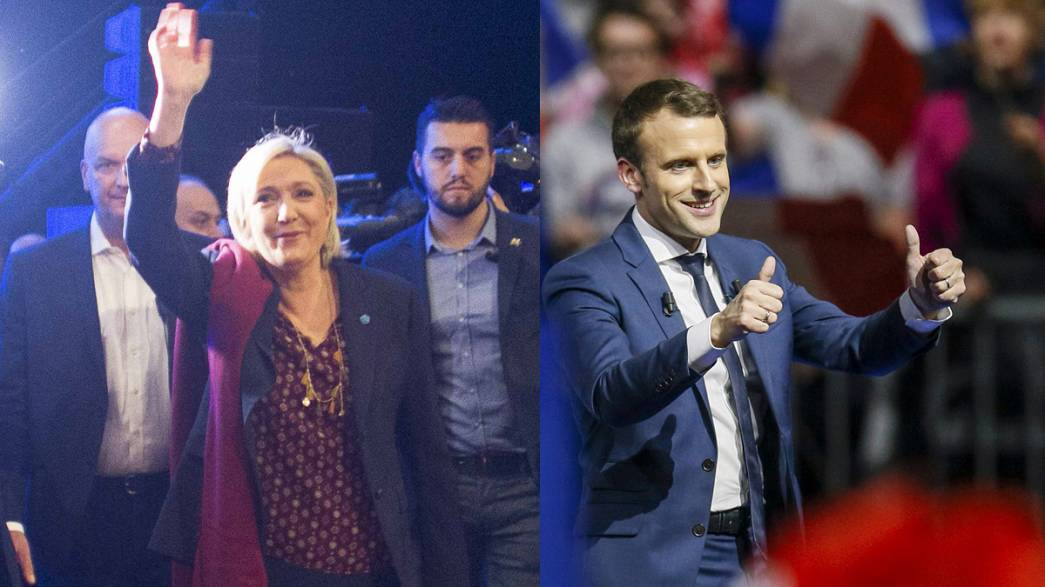 French presidential front-runners Le Pen and Macron rally supporters