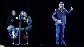 France's leftist candidate Jean-Luc Mélenchon appears via hologram in Paris