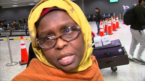 ABD'ye girişi yasaklanan göçmenler yargı kararının ardından havalimanlarına akın etti