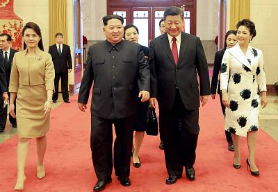 North Korean leader Kim Jong Un with China\'s President Xi Jinping in Beijing in March.