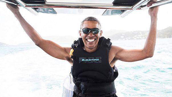 Barack Obama faz kitesurf