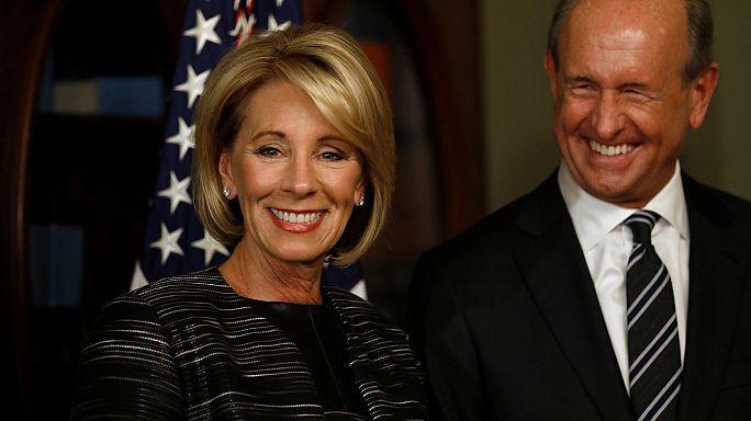 US Education Secretary Betsy DeVos 'survives' tie-break Senate vote