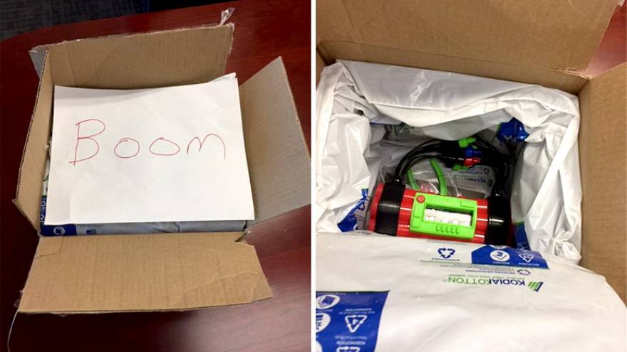 A patrol deputy has resigned after he admittedly mailed a toy bomb to a She