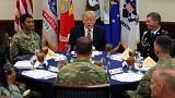 Trump meets with troops