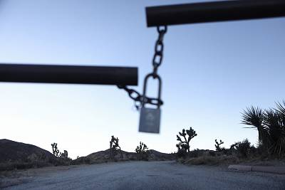The entrance gate to a campground is locked at Joshua Tree National Park in California.