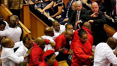 Chaos in S. Africa parliament: thrown outs and walk outs as Zuma presents State of Nation