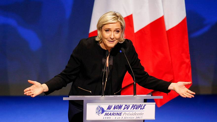 Le Pen sets out stall as the FN climbs to first place in French presidential polls