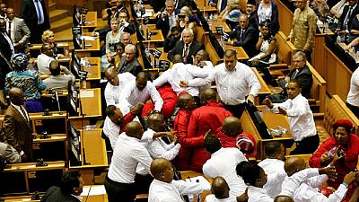South Africans express anger, disappointment over parliament brawl