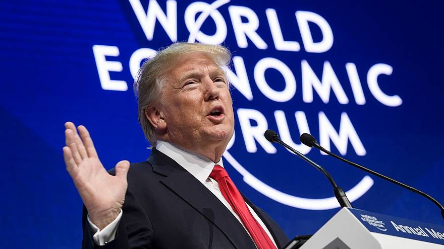 Image: President Donald Trump delivers a speech during the World Economic F
