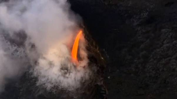 Hawaii'deki Kamokuna lav deltasında görsel şölen