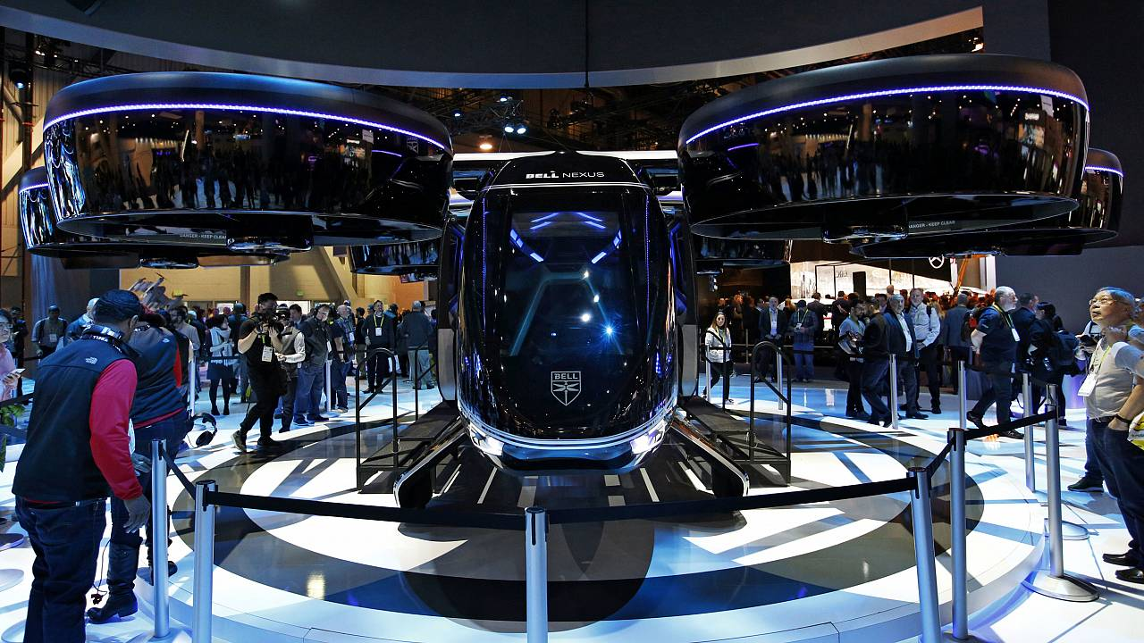 The Bell Nexus hybrid electric air taxi concept is on display at the Bell b