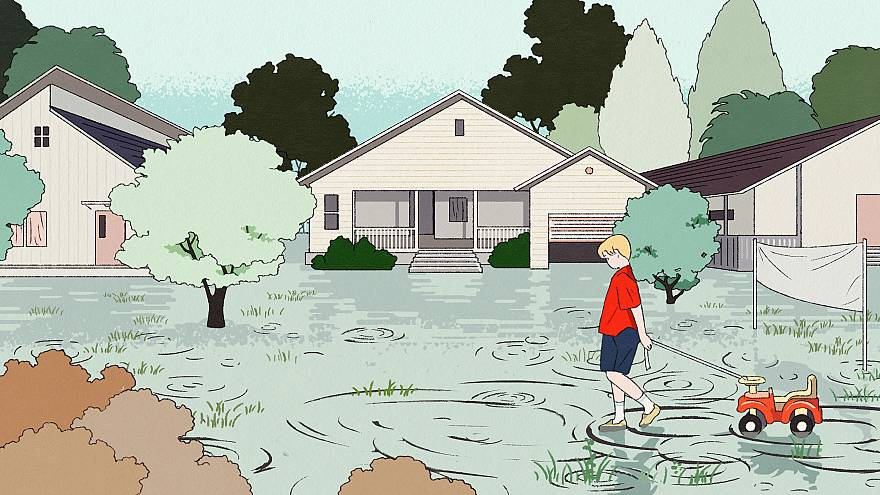 Illustration of child walking on a flooded street.