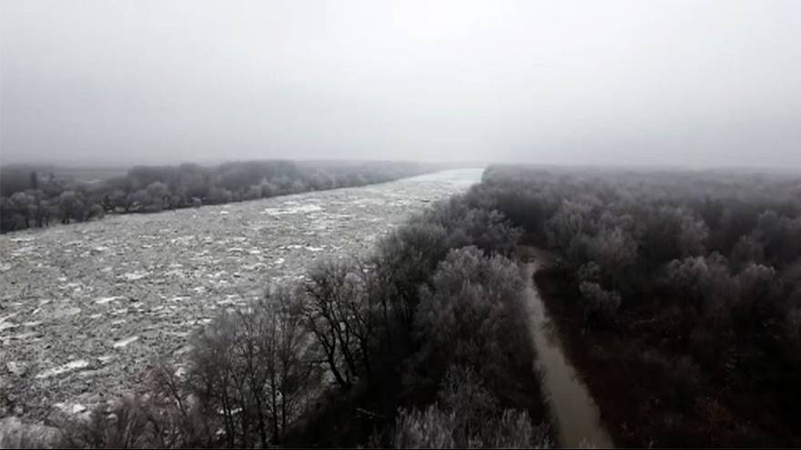 Tisza River frozen in Hungary