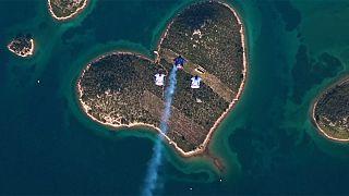 Skydiving stunt celebrates St. Valentine's