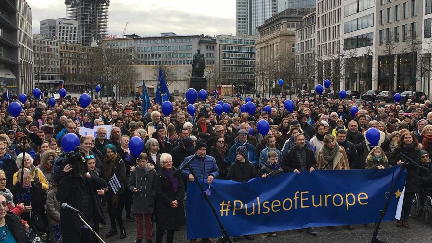 The demonstrators taking to the streets to proclaim their European identity