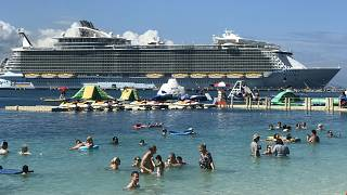 The Royal Caribbean Oasis of the Seas ship while docked in Haiti.