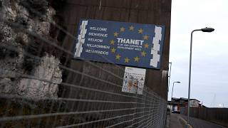 Image: A sign opposite the abandoned passenger terminal at the Port of Rams