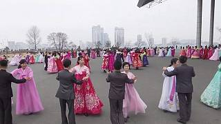 North Korea: dancing in the street