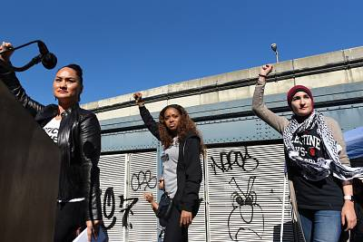 Women\'s March organizers Carmen Perez, Tamika Mallory and Linda Sarsour at the March for Racial Justice in New York on Oct. 1, 2017.