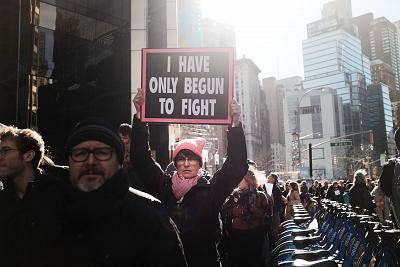 A protester holds a sign at the Women\'s March in New York on Jan. 20, 2018.