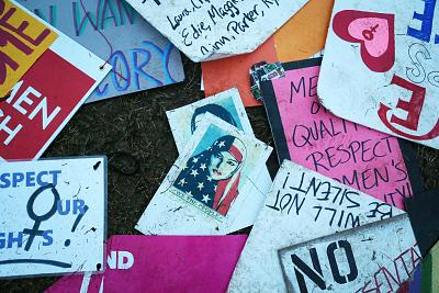 Protest signs left near the White House during the Women\'s March on Washington on Jan. 21, 2017.