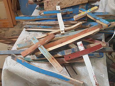 Francesco Tuccio\'s work-in-progress crosses in his workshop in Lampedusa.