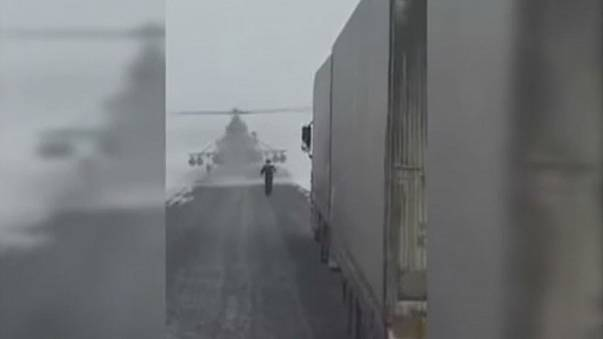 Kazakh military helicopter stops to ask for directions