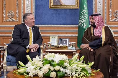 Saudi Crown Prince Mohammad bin Salman meets with Secretary of State Mike Pompeo in Riyadh on Monday.