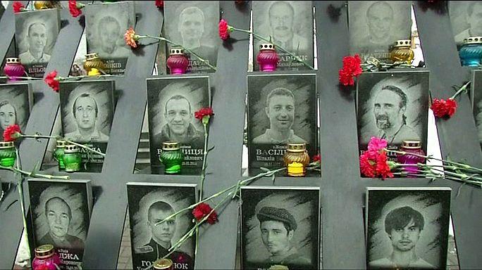 Megemlékezés a kijevi Függetlenség terén