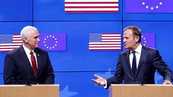 Pence Brüsszelben: Amerika együttműködik az Európai Unióval