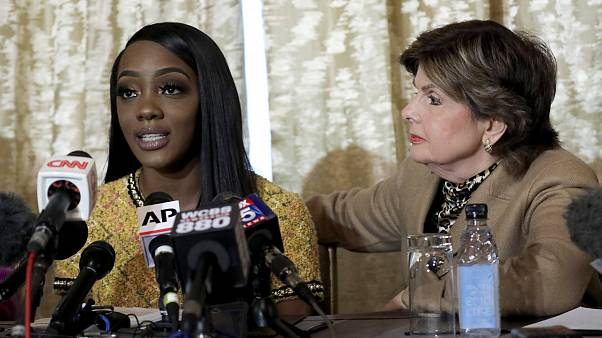Image: Faith Rodgers speaks as attorney Gloria Allred listens during a pres